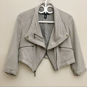 INC INTERNATIONAL CONCEPTS Cropped Motto Jacket